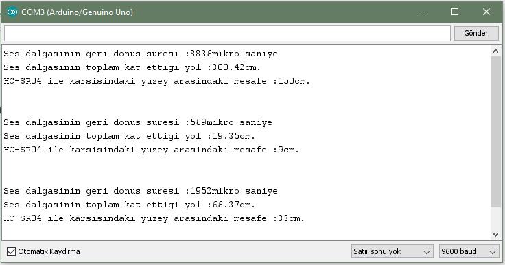 Arduino - HC-SR04 Örneği Ekran Çıktısı