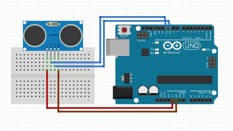 Arduino - HC-SR04 Devre Şeması