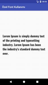 TextView üzerinde Font Görünüm