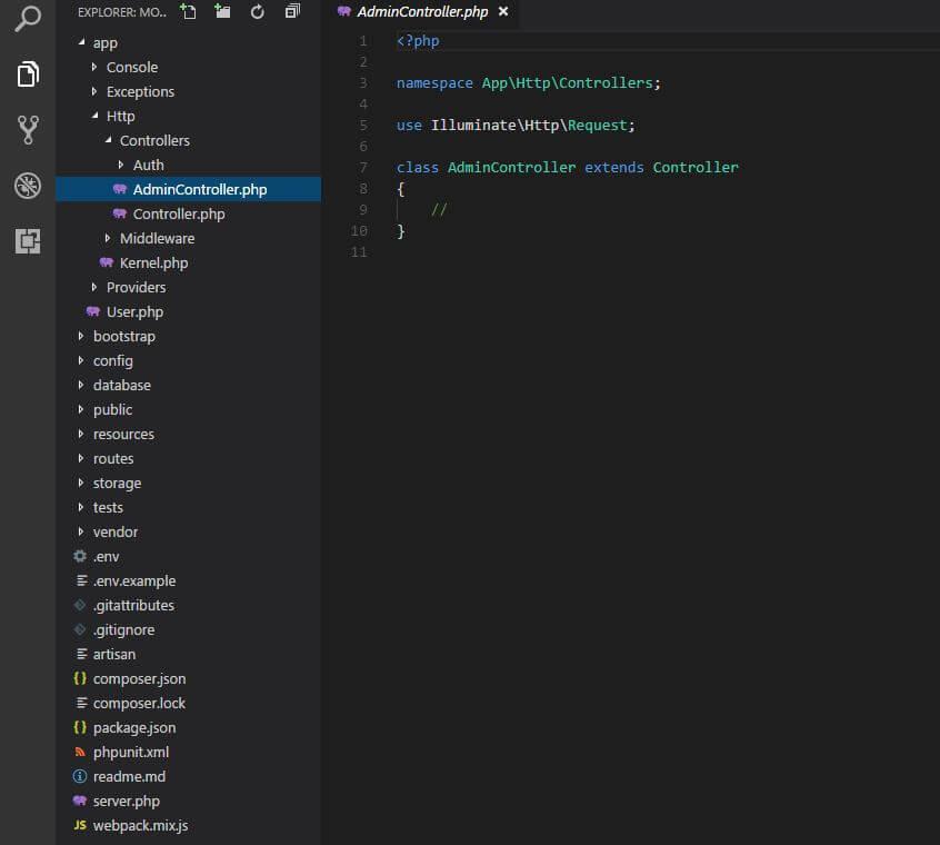 php artisan make:controller komutu ile oluşturulmuş controllerin görünümü