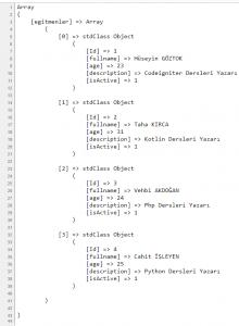 Print_r metodu çıktı resmi
