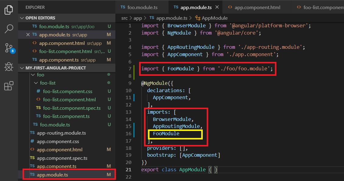 AppModule'e nasıl feature module eklenir