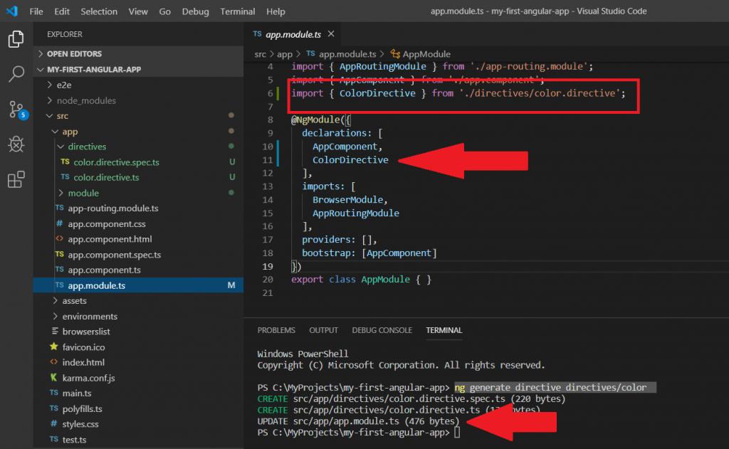 angular cli ile directive oluşturma app module değişiklikleri
