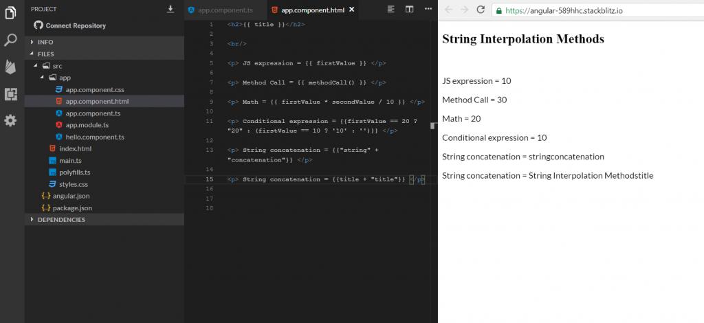 angular string interpolation all examples